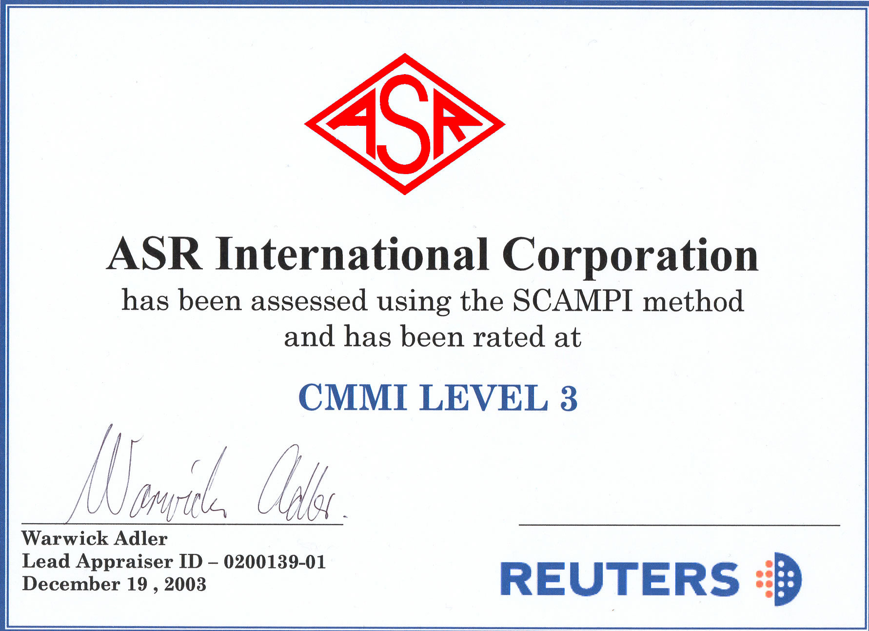 Asr Certifications Asr International Corporation