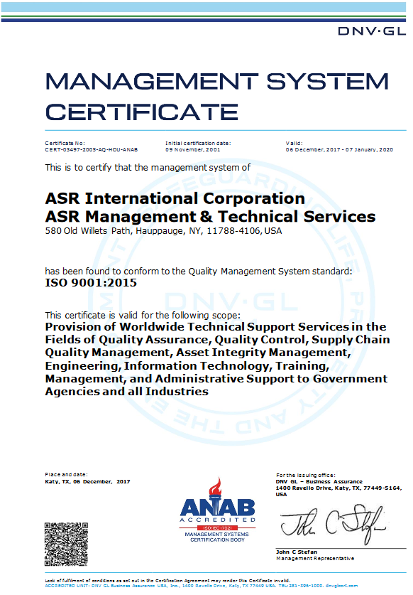 ASR's ISO 9001:2015 Certification