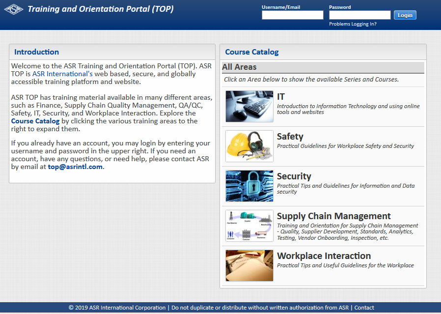ASR Training and Orientation Portal (TOP)